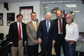 Left to right: Buell Jannuzi, director of the UA Department of Astronomy and Steward Observatory; Dante Lauretta, professor in the UA's Department of Planetary Sciences and the principal investigator for NASA's OSIRIS-REx mission; U.S. Sen. John McCain; Tim Swindle, head of the UA Deptartment of Planetary Sciences and