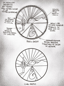 Manuel's handwritten notes on an early design describe some of the medallion's visual elements.