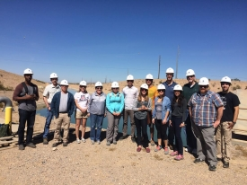 Megdal (fifth from left) with her Arizona Water Policy class students in front of a Central Arizona Project canal.