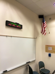 Electronic message boards normally serve as clocks, but can be used to display alerts in the event of an emergency.