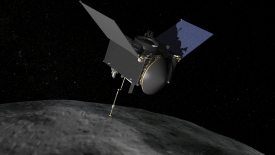 "The OSIRIS-REx spacecraft will rendezvous with asteroid ""Bennu,"" scoop a sample and bring it back to Earth."