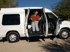 Rusty Bowen in the new family van replete with wheelchair lift.