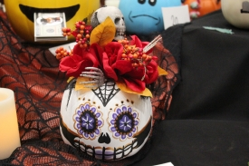 A pumpkin painted in Dia de los Muertos style was an entry at last year's pumpkin-crafting fundraiser. The event raised $300.
