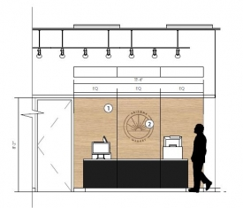 The union's U-Mart will become Arizona Market, featuring hot and cold food bars and a farmer's market section, in addition to the usual convenience store offerings. This rendering shows the register area.