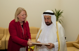 Hart met with influential leaders, including Sheikh Sultan III bin Mohammed Al-Qasimi, the ruler of Sharjah emirate.