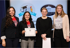 Students and staff from the UA Mel and Enid Zuckerman College of Public Health attended Healthy Campus Challenge Day at the White House. From left: Alyssa Padilla, special projects coordinator and Project SHARE coordinator, Center for Rural Health; Nicole Lorona, student; Kristie Canegallo, former assistant to President Barack Obama and deputy chief of staff for implementation; Ariel Hayes, student. (Photo courtesy of UAHS)