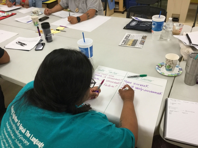 """A participant works on a project during AILDI's """"Re-Membering Ourselves to Land & Place"""" workshop in 2019."""