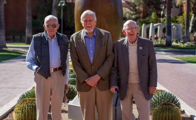 (From left) Vance Haynes, Art Jelinek and Ray Thompson will be honored by the School of Anthropology on March 19. (Photo by Kyle Mittan/University Communications)