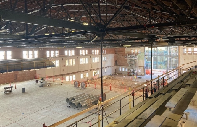 Renovations of Bear Down Gymnasium should be completed in spring 2022. This image shows construction as seen from the bleachers.