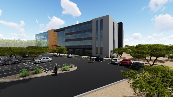A conceptual image of a building that will house roughly 60,000 square feet of office, startup, educational and meeting spaces at the Tech Park at The Bridges.
