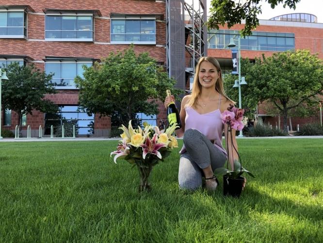 Brittany Uhlorn celebrating after her dissertation defense.