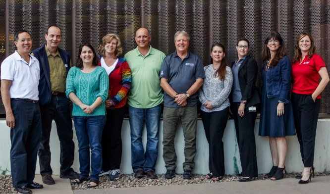 The Science City Executive Team. From left: Elliott Cheu, Uwe Hilgert, Barbara Kahn-Sales, Erin Deely, Clark Reddin, Kirk Astroth, Kellee Campbell, Amy Randall-Barber, Jennifer Casteix, Lisa Romero. Missing from photo: Chris Impey.