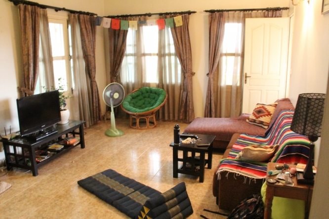 "Hillary Vance and her husband appeared on HGTV's ""House Hunters International,"" which followed their search for an apartment in Cambodia. This is the living room of the apartment they chose."