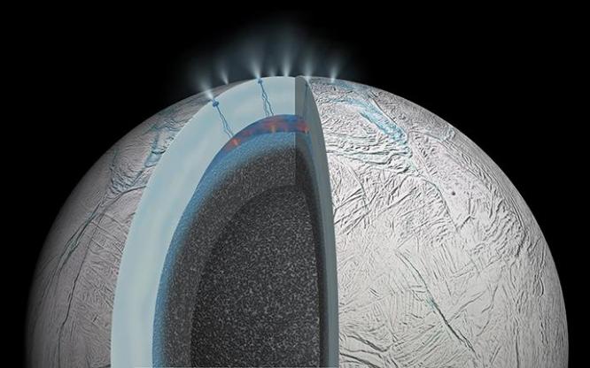 This artist's rendering shows a cutaway view of Saturn's moon Enceladus.
