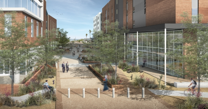 Artistic rendering of the Honors College housing project.