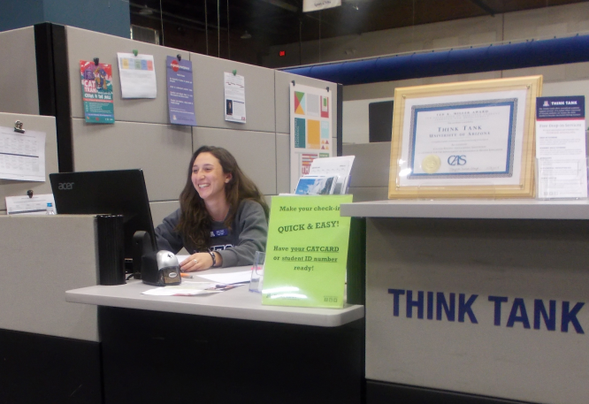 Alexa Frisch works at the THINK TANK as a front-desk receptionist.