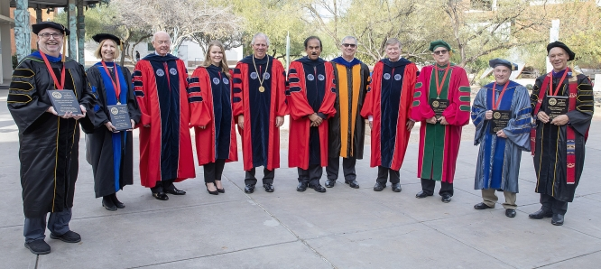 The 2018 Regents Professors with President Robert C. Robbins and other University leaders.