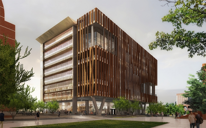 The Health Sciences Innovation Building, seen in this artistic rendering, is scheduled to be completed by January.