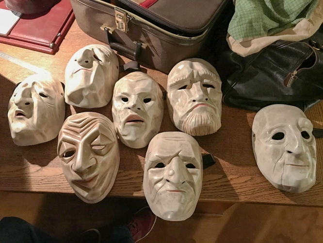 The Lecoq method puts a heavy emphasis on mask work, in which students wear masks to hide their facial expressions and instead rely on physical mannerisms to convey emotion. (Photo courtesy of Hank Stratton)