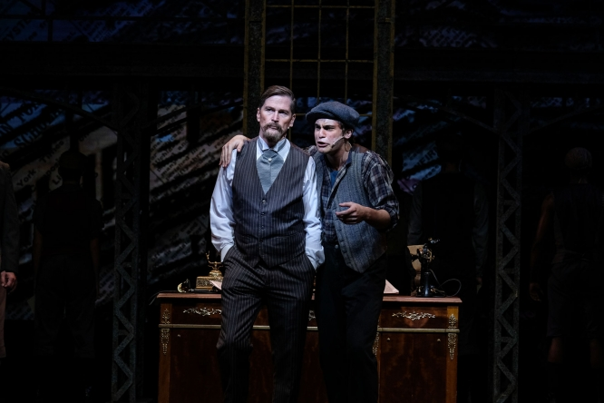 "Hank Stratton (left) and Dillon Klena in a 2018 production of Disney's ""Newsies"" in San Diego."