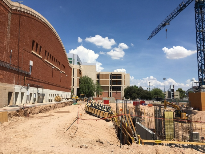 Construction of the new Student Success Building, going up just south of Bear Down Gymnasium, began earlier this year. (Photo courtesy of Sundt Construction)