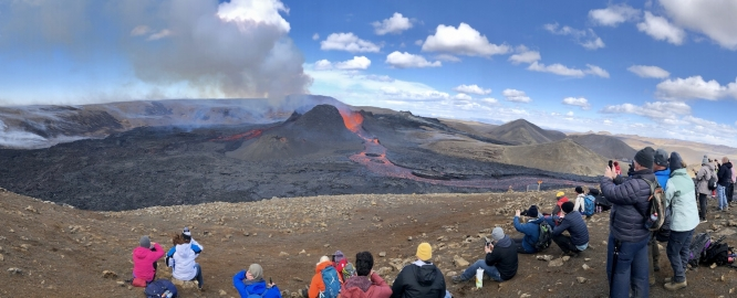 Researchers Christopher Hamilton and Solange Duhamel had an unexpected boon when a volcano erupted within a few months of their arrival in Iceland.