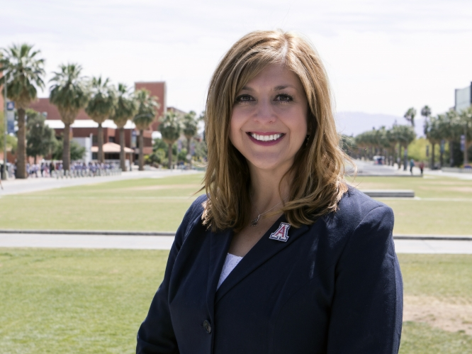 "Kasey Urquidez is a UA alumna and a longtime UA employee. Next fall, she will be a ""proud Arizona mom"" as well."