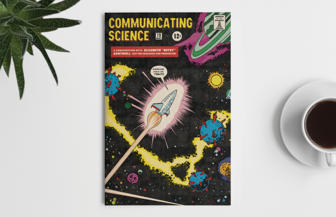 Graphic designer Edmundo Canto has illustrated complex topics ranging from quantum optics to tech transfer since joining RII's communications team in 2019. He created the graphic above as a nod to space exploration, a la vintage comic book covers.