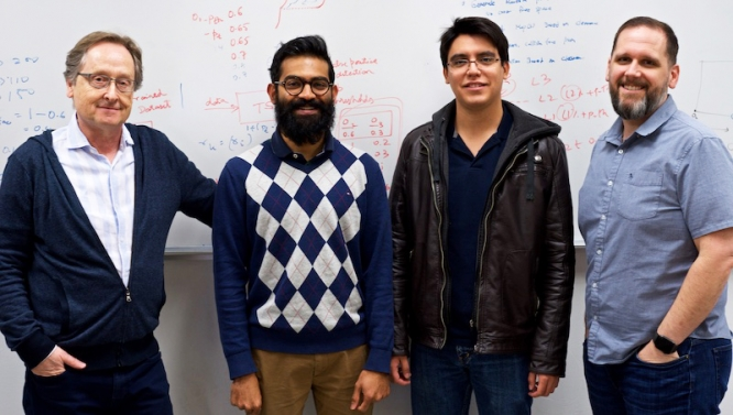 From left: Professor Jerzy Rozenblit, graduate students Aakarsh Rao and Nadir Carreon, and professor Roman Lysecky. (Photo courtesy of Minisk Hong)