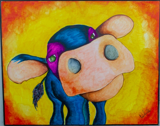 """Pondering Cow"" by Norma Trujillo received an honorable mention from judges in this year's ""On Our Own Time"" exhibit. The exhibit is open until Feb. 9 in the lobby of the Bioscience Research Laboratories building, 1230 N. Cherry Ave."