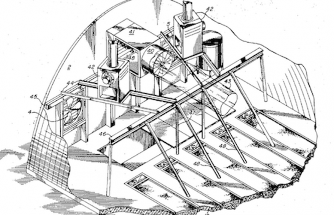 A drawing from Patent 3,807,088, which was filed May 1, 1972. The invention, a Controlled Environment Hydroponic System, was invented at the UA. (Image courtesy of Tech Launch Arizona)