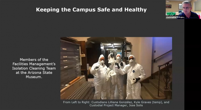 Christopher Kopach, assistant vice president for facilities management, outlined his team's efforts to keep campus safe.