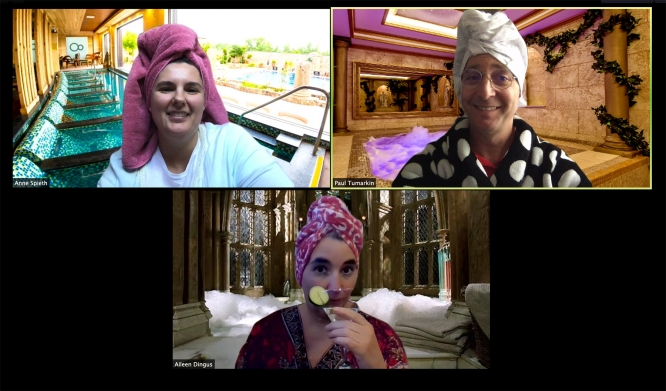 """(Clockwise from top left) Anne Spieth, Paul Tumarkin and Aileen Dingus dressed up in bathrobes for """"Spa Day,"""" one of the themes they have cooked up for weekly Zoom staff meetings."""