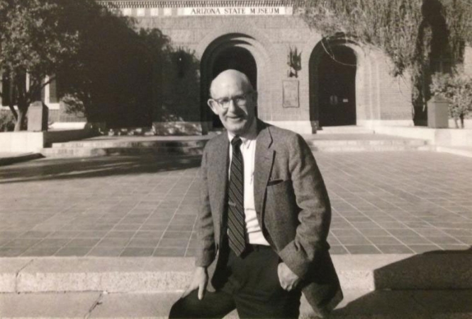 Raymond H. Thompson in 1982, in front of Arizona State Museum's north building. (Photo courtesy of ASM photo collections)