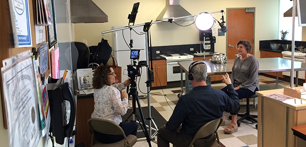 Dr. Merri Pendergrass, professor of medicine, on the set of a Doctorpedia video about diabetes.