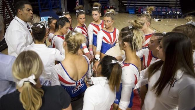 Watch the Arizona gymnastics team in the GymCats Showcase on Dec. 15. (Photo by Rebecca Sasnett for Arizona Athletics)