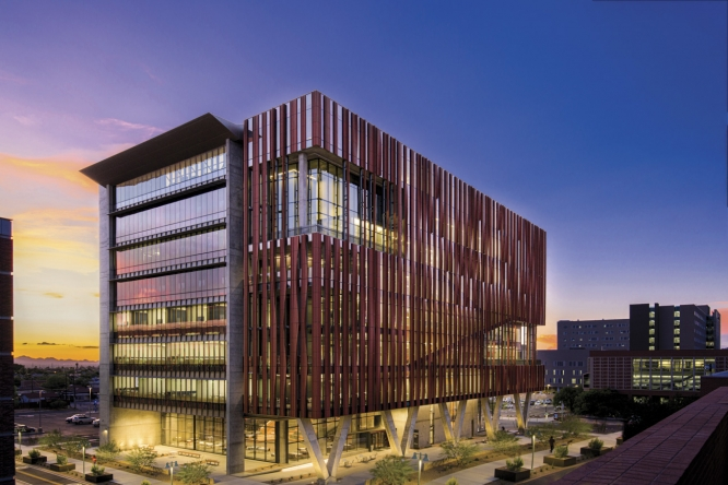 The Health Sciences Innovation Building, which opened in 2019, was designed to be a hub of interprofessional activities and collaboration, with architectural details to encourage the flow of people and ideas.