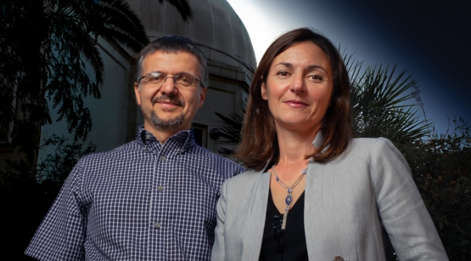 Dimitrios Pslatis, EHT project scientist, and Feryal Ozel, lead of the modeling analysis working group, are two of several University of Arizona researchers who contributed to the Event Horizon Telescope project, which was awarded the Breakthrough Prize in Fundamental Physics.