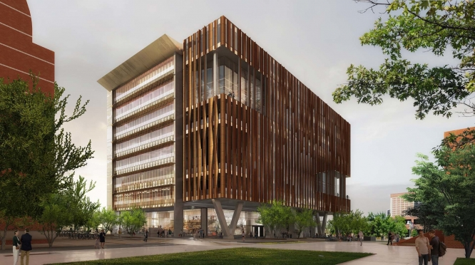 An artistic rendering of the Health Sciences Innovation Building, set to be completed in summer 2018. (Illustration courtesy of CO Architects)