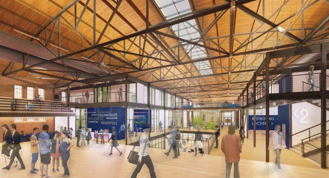 The project includes a renovation of Bear Down Gymnasium. This rendering shows an interior view of Bear Down, facing south.