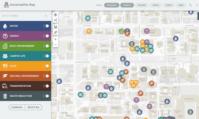 The recently updated UA Sustainability Map, which plots sustainability-related work on campus, has three new layers with information about the people, events and news related to each project. The map's creators hope it becomes a go-to resource for data on campus sustainability.