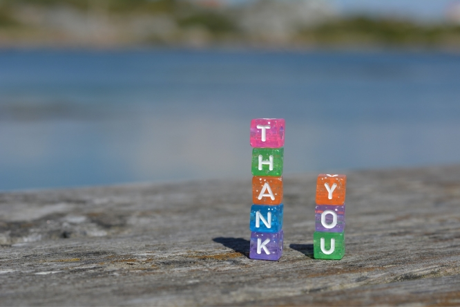 "A stack of dice spelling out ""Thank You"" (Photo:  DreamPixer)"