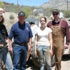 Ros Hill with (from left) students Rita Riggs, Robert Tracy and Sarah Dahlin at the San Xavier Mining Laboratory.