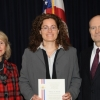 Katrina Miranda (center) with Kathie Olsen, deputy director of the National Science Foundation, and John Marburger, science adviser to the president and director of the Office of Science And Technology Policy.