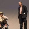 UA President Robert C. Robbins, right, with Fred Fox on the stage at Crowder Hall. (Photo by Drew Bourland)