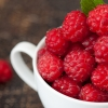 Pile of red raspberries in a white bowl