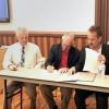 President Robert C. Robbins (second from left) signs the Guidelines for Shared Governance Memorandum of Understanding.