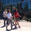 A group of employees walking on campus